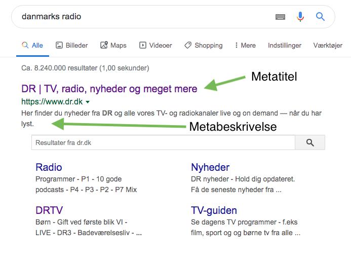 Meta beskrivelse og meta titel ved en standard søgning
